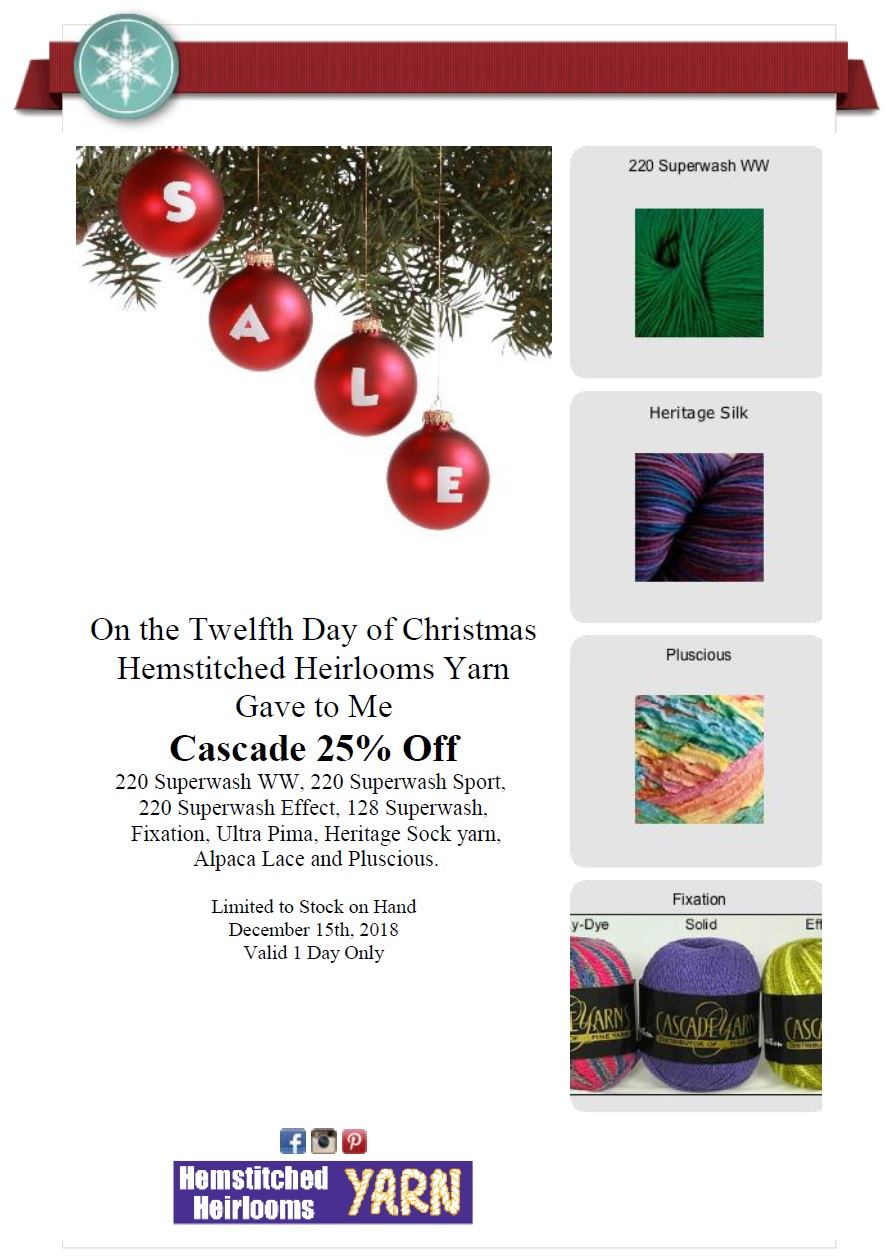 On The 12th Day Of Christmas.On The 12th Day Of Christmas Hemstitched Heirlooms