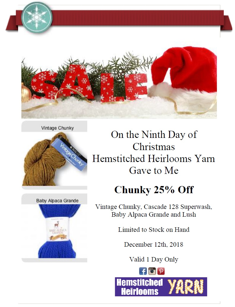 Ninth Day Of Christmas.On The 9th Day Of Christmas Hemstitched Heirlooms